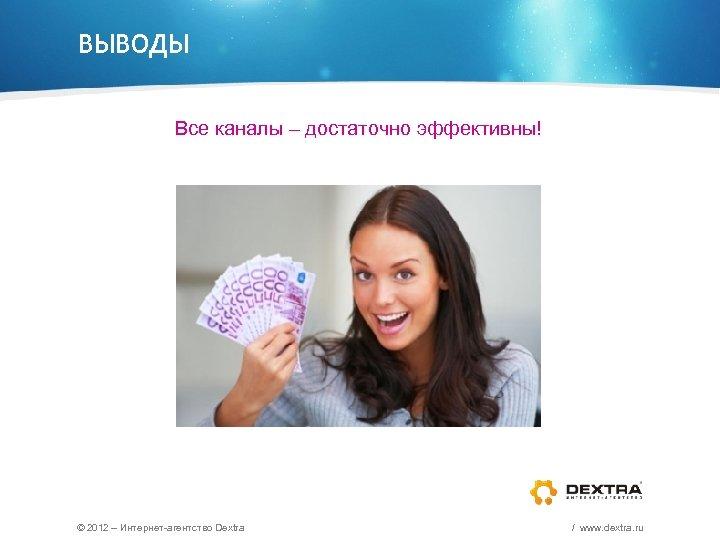 ВЫВОДЫ Все каналы – достаточно эффективны! © 2012 – Интернет-агентство Dextra / www. dextra.