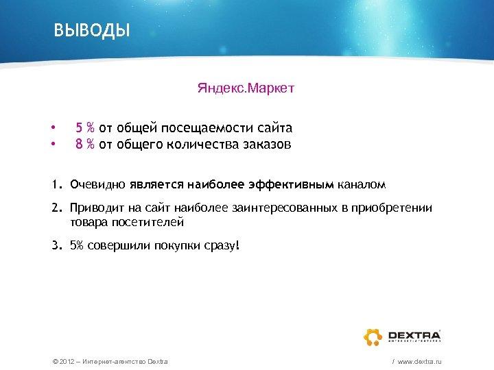 ВЫВОДЫ Яндекс. Маркет • • 5 % от общей посещаемости сайта 8 % от