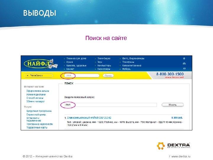 ВЫВОДЫ Поиск на сайте © 2012 – Интернет-агентство Dextra / www. dextra. ru