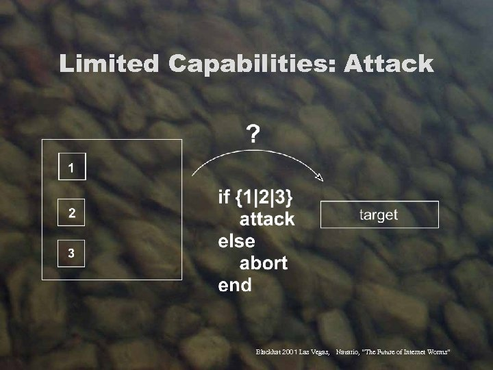 "Limited Capabilities: Attack Blackhat 2001 Las Vegas, Nazario, ""The Future of Internet Worms"""