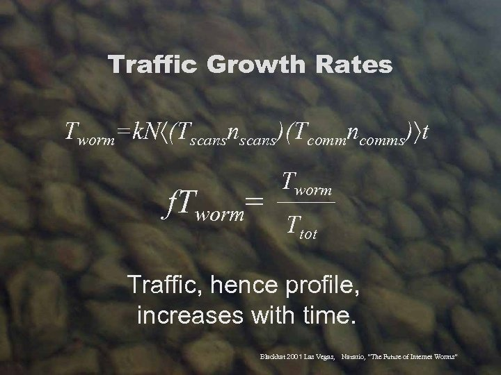 Traffic Growth Rates Tworm=k. N (Tscansnscans)(Tcommncomms) t f. Tworm= Tworm _______ Ttot Traffic, hence