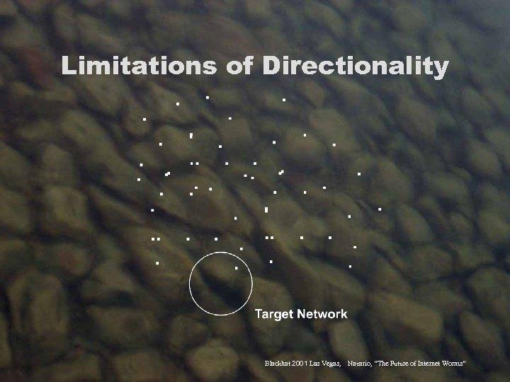 "Limitations of Directionality Blackhat 2001 Las Vegas, Nazario, ""The Future of Internet Worms"""