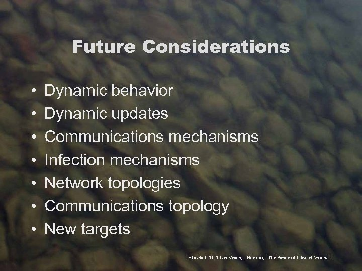 Future Considerations • • Dynamic behavior Dynamic updates Communications mechanisms Infection mechanisms Network topologies