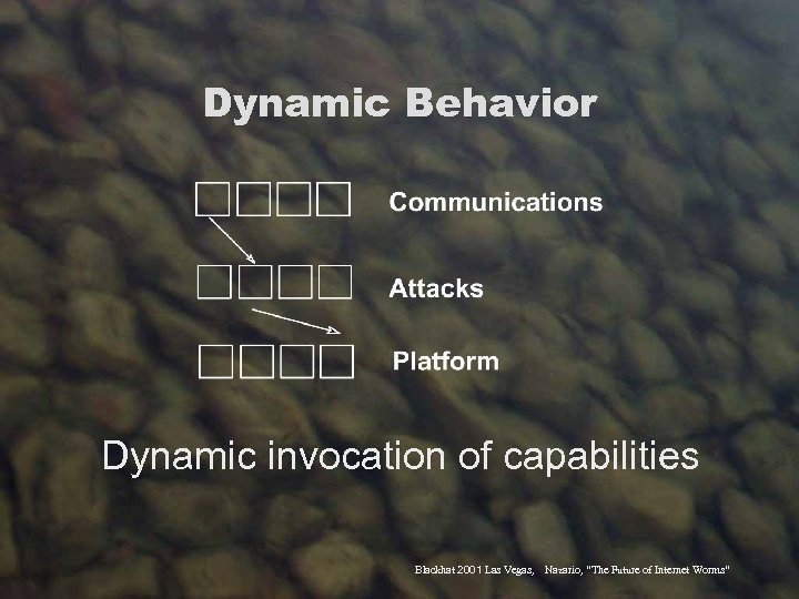 "Dynamic Behavior Dynamic invocation of capabilities Blackhat 2001 Las Vegas, Nazario, ""The Future of"