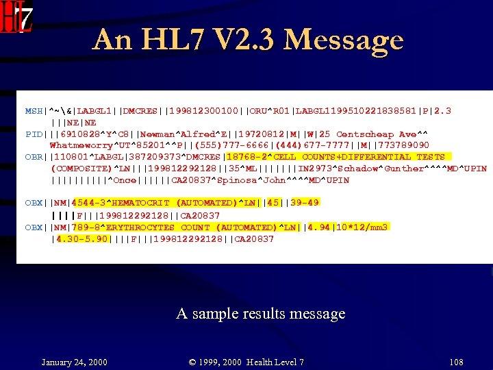 An HL 7 V 2. 3 Message MSH|^~&|LABGL 1||DMCRES||199812300100||ORU^R 01|LABGL 1199510221838581|P|2. 3 |||NE|NE PID|||6910828^Y^C
