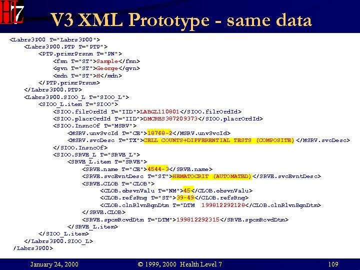 V 3 XML Prototype - same data <Labrs 3 P 00 T=