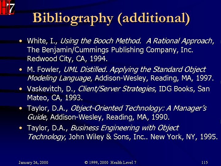 Bibliography (additional) • White, I. , Using the Booch Method. A Rational Approach, The