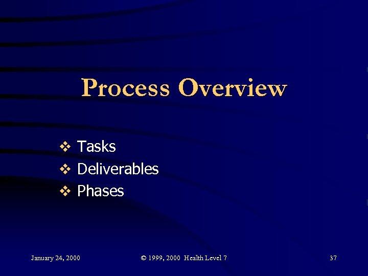 Process Overview v Tasks v Deliverables v Phases January 24, 2000 © 1999, 2000