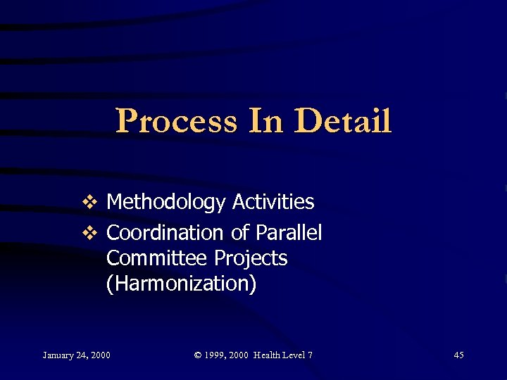 Process In Detail v Methodology Activities v Coordination of Parallel Committee Projects (Harmonization) January