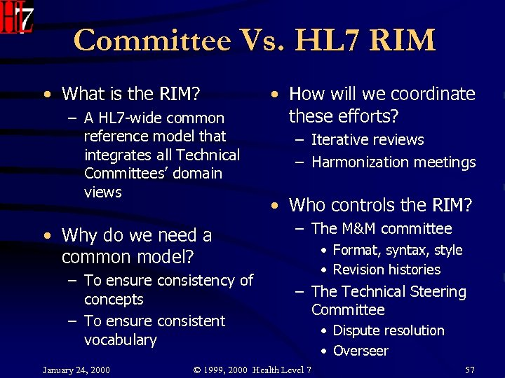 Committee Vs. HL 7 RIM • What is the RIM? – A HL 7