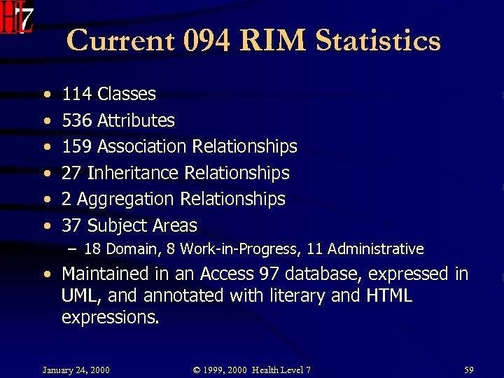 Current 094 RIM Statistics • • • 114 Classes 536 Attributes 159 Association Relationships