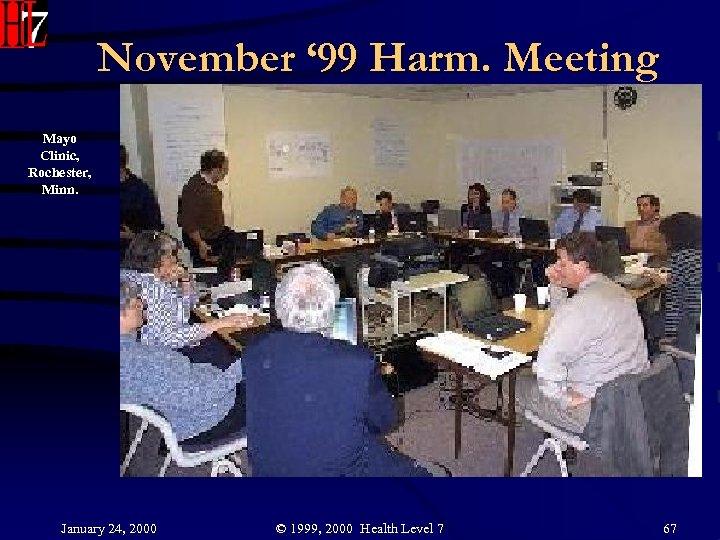 November ' 99 Harm. Meeting Mayo Clinic, Rochester, Minn. January 24, 2000 © 1999,