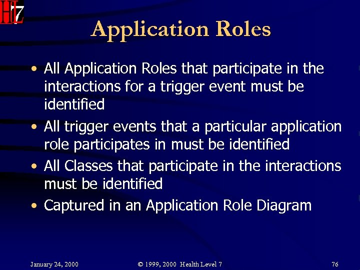 Application Roles • All Application Roles that participate in the interactions for a trigger