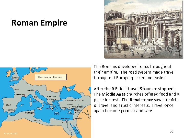 Roman Empire The Romans developed roads throughout their empire. The road system made travel