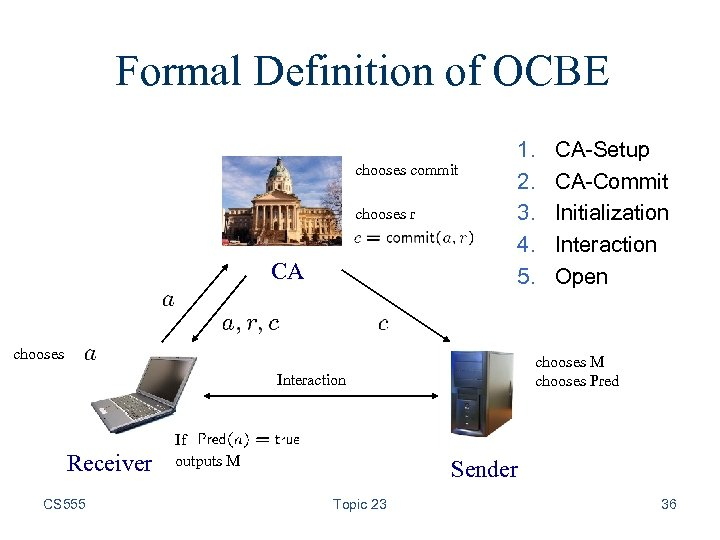 Formal Definition of OCBE chooses commit chooses r CA 1. 2. 3. 4. 5.