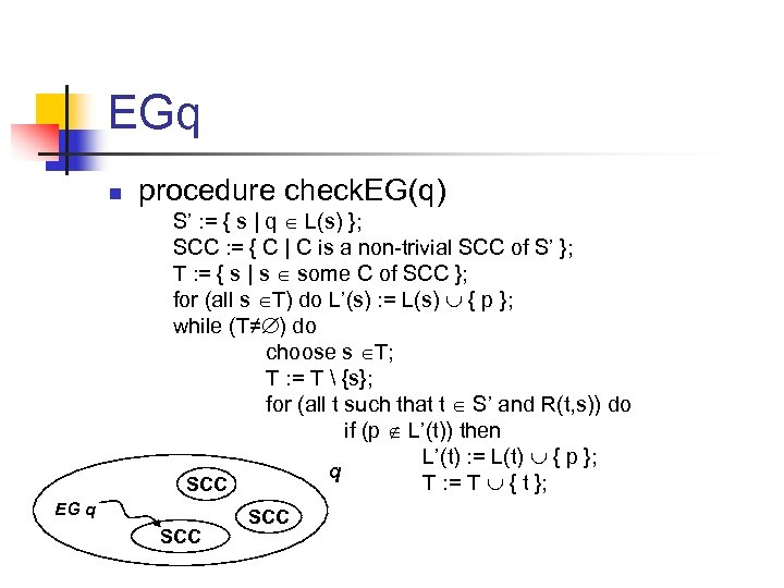 EGq n procedure check. EG(q) S' : = { s | q L(s) };