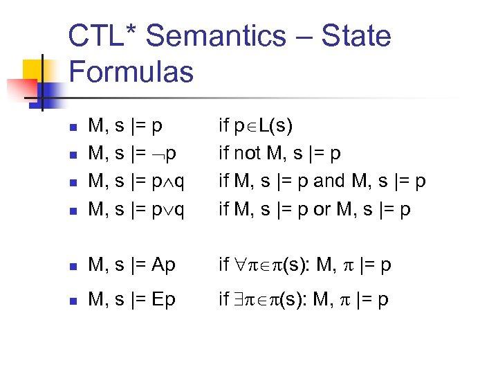 CTL* Semantics – State Formulas n M, s |= p q if p L(s)