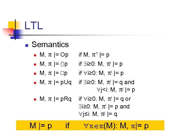 LTL n Semantics n M, |= Op if M, 1 |= p n M,