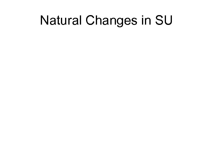 Natural Changes in SU