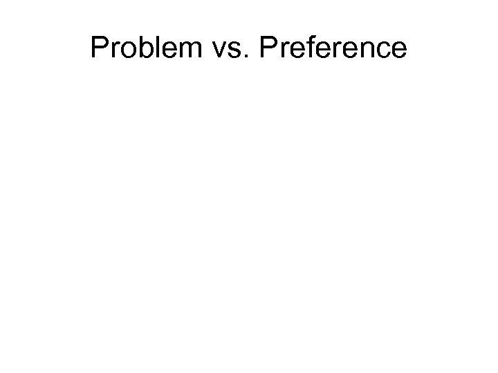 Problem vs. Preference