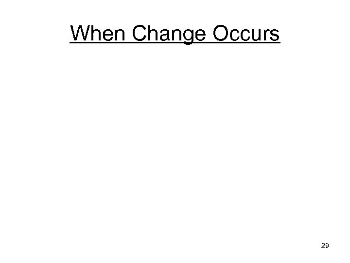 When Change Occurs 29