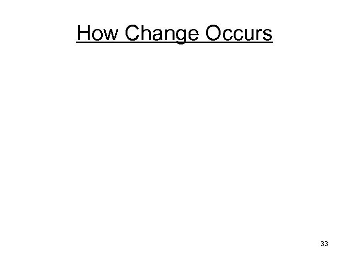 How Change Occurs 33