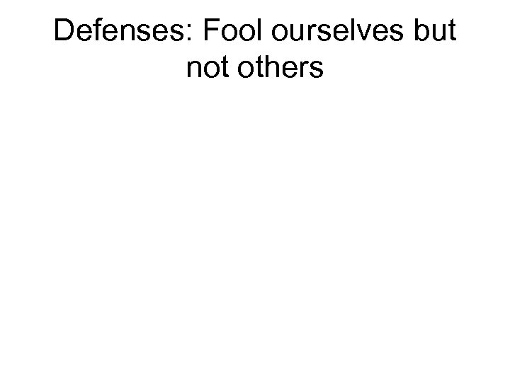 Defenses: Fool ourselves but not others