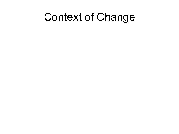 Context of Change