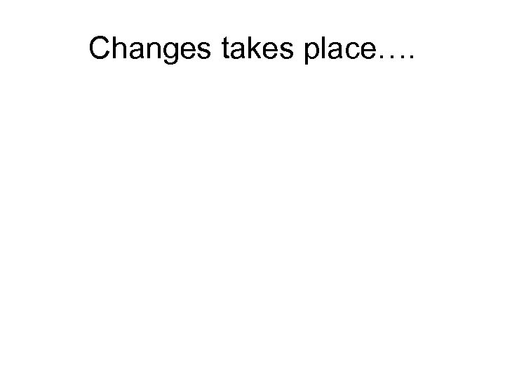 Changes takes place….