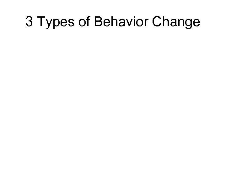 3 Types of Behavior Change