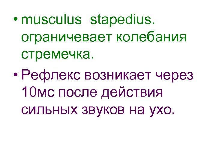 • musculus stapedius. ограничевает колебания стремечка. • Рефлекс возникает через 10 мс после
