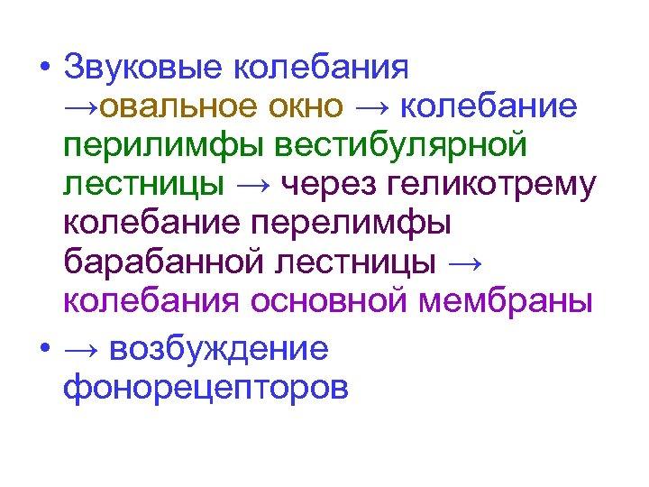 • Звуковые колебания →овальное окно → колебание перилимфы вестибулярной лестницы → через геликотрему
