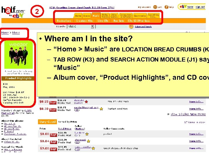 """2 • Where am I in the site? – """"Home > Music"""" are LOCATION"""