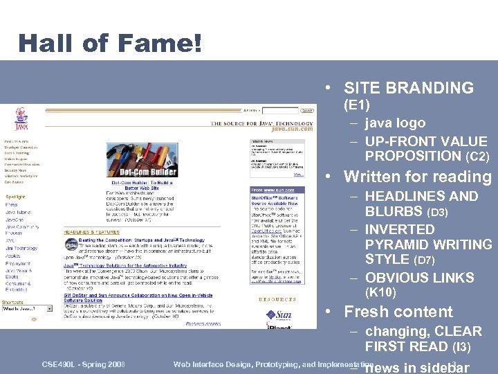 Hall of Fame! • SITE BRANDING (E 1) – java logo – UP-FRONT VALUE
