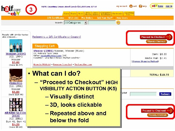 """3 • What can I do? – """"Proceed to Checkout"""" HIGH VISIBILITY ACTION BUTTON"""