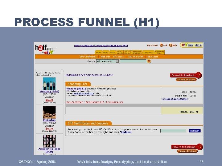 PROCESS FUNNEL (H 1) CSE 490 L - Spring 2008 Web Interface Design, Prototyping,