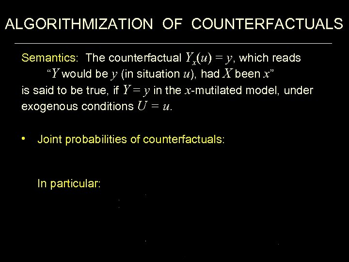 """ALGORITHMIZATION OF COUNTERFACTUALS Semantics: The counterfactual Yx(u) = y, which reads """"Y would be"""
