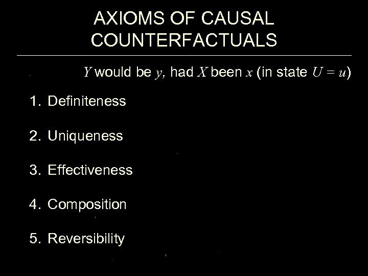 AXIOMS OF CAUSAL COUNTERFACTUALS Y would be y, had X been x (in state