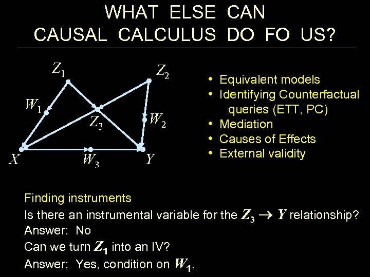 WHAT ELSE CAN CAUSAL CALCULUS DO FO US? Z 1 W 1 X Z