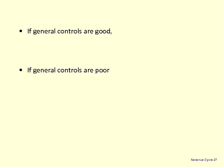 • If general controls are good, • If general controls are poor Revenue