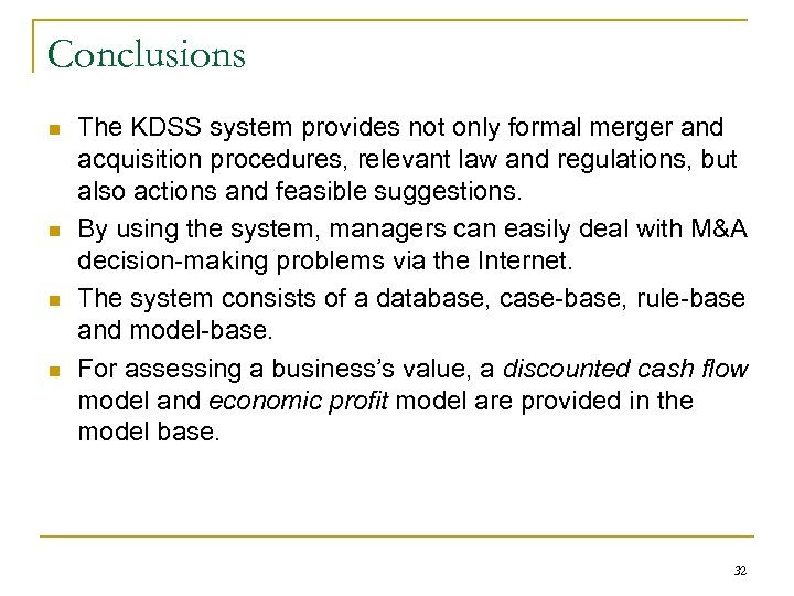 DSS Case Study A knowledge-based Decision Support System