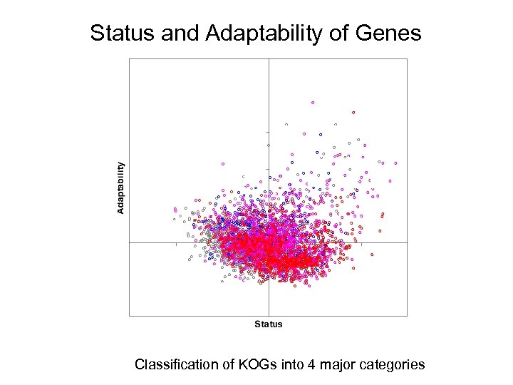 Status and Adaptability of Genes Classification of KOGs into 4 major categories