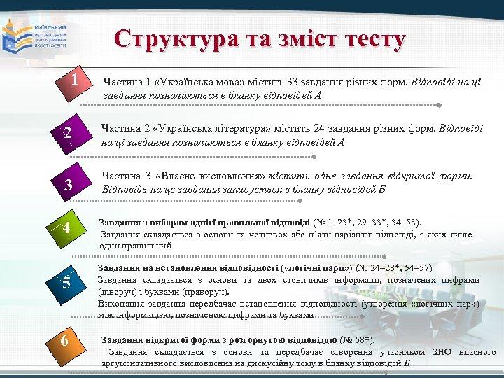 Структура та зміст тесту 1 Частина 1 «Українська мова» містить 33 завдання різних форм.