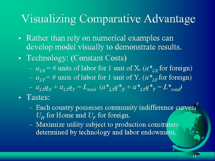 Visualizing Comparative Advantage • Rather than rely on numerical examples can develop model visually