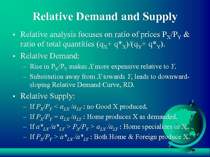 Relative Demand Supply • Relative analysis focuses on ratio of prices PX/PY & ratio