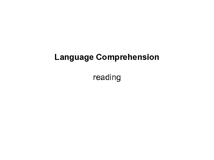 Language Comprehension reading