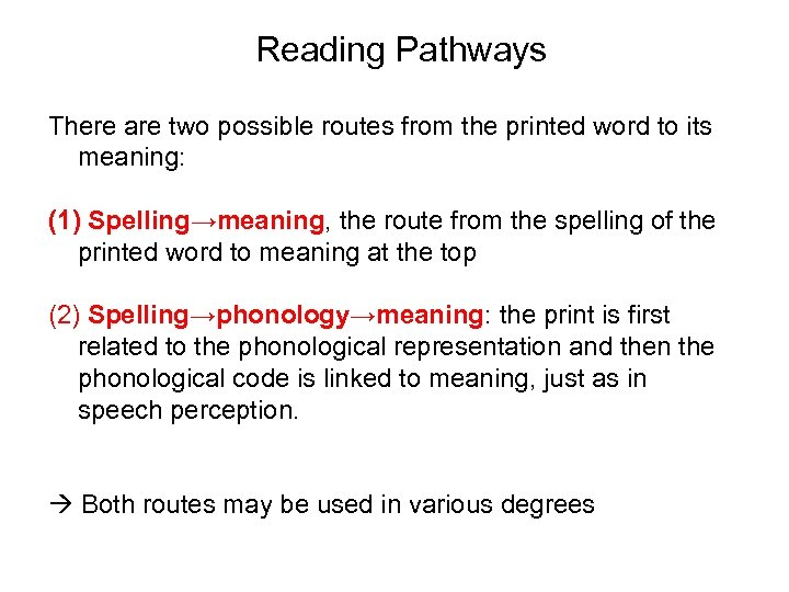 Reading Pathways There are two possible routes from the printed word to its meaning: