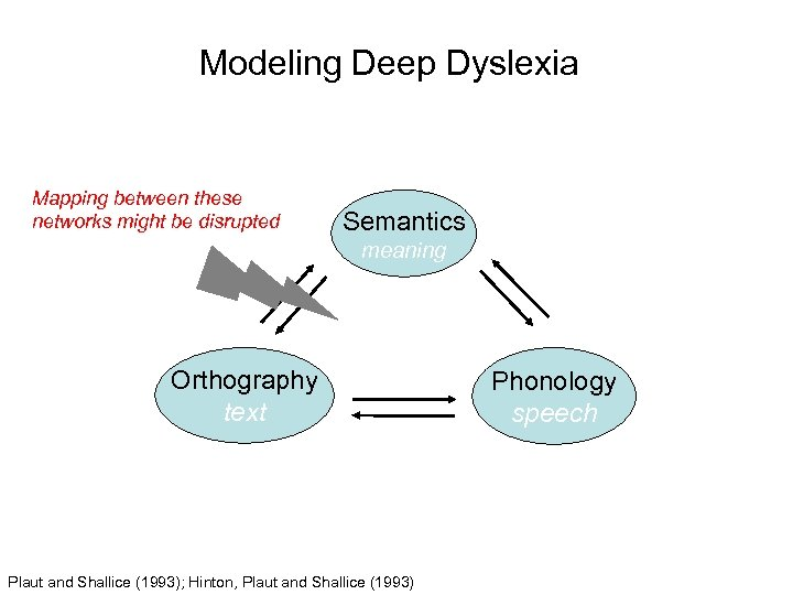 Modeling Deep Dyslexia Mapping between these networks might be disrupted Semantics meaning Orthography text