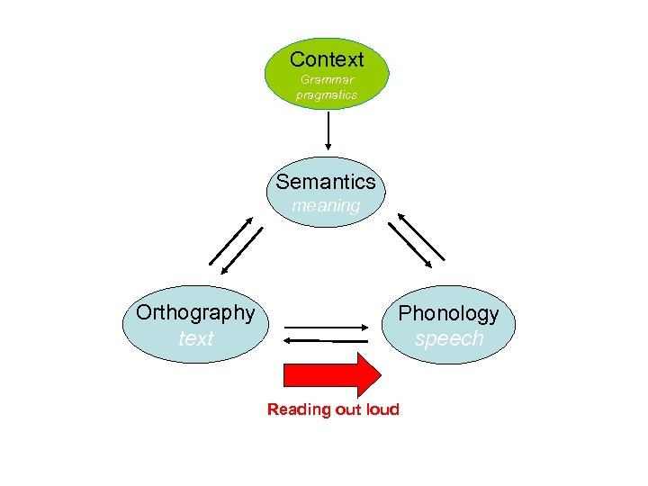 Context Grammar pragmatics Semantics meaning Orthography text Phonology speech Reading out loud
