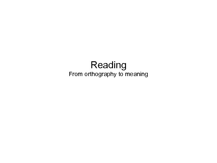 Reading From orthography to meaning